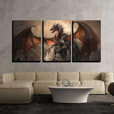 Wall26 - War with the Dragon on Castle - Canvas Wall Art Decor- 16