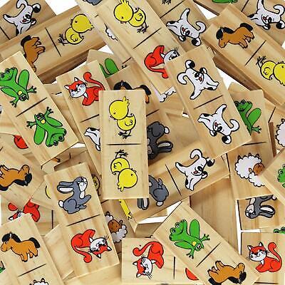 Dominos for Kids - Wooden Dominoes - Picture Domino Preschool Funny Animals Game