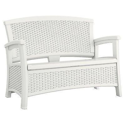 Suncast Elements Resin Wicker Design Loveseat with Storage, White | BMWB5000W