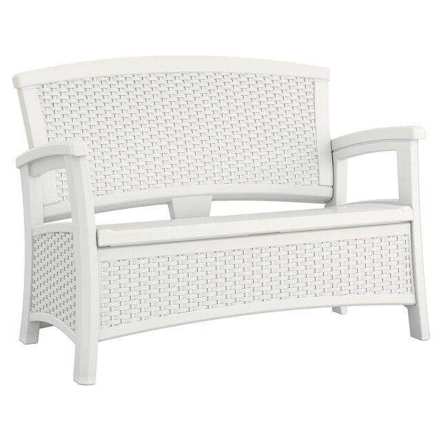 Suncast Elements Resin Wicker Design Loveseat With Storage, White |  BMWB5000W