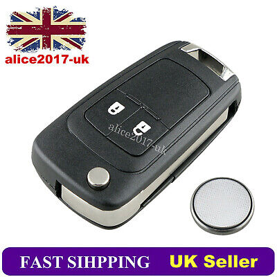 For Vauxhall Opel Astra Insignia 2 Button Remote Flip Key Fob Case Blade Battery