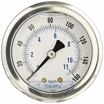 Liquid Filled Pressure Gauge 0-160 Psi 2 Face 14 Back Mount