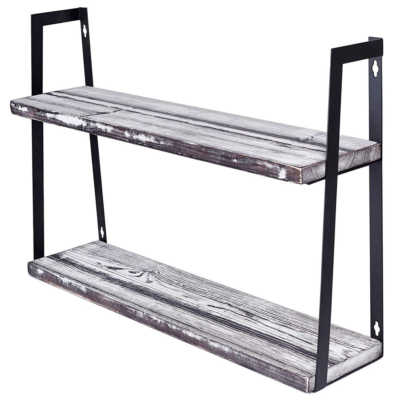 Wall Mount Rustic Shelves - Floating 2-Tier Hanging Shelf fo