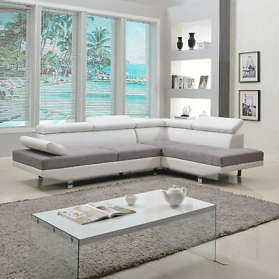 2 Wedge Modern Contemporary White Faux Leather Sectional Sofa, Living Room Set