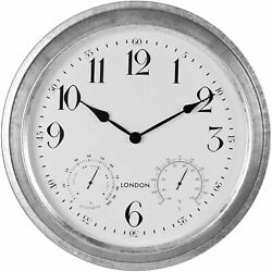 Hometime Grey Outdoor Wall Clock With Temperature/Humidity Display 40cm