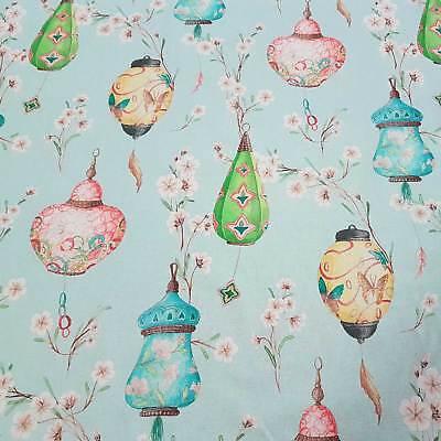 Stoff Meterware Baumwolle Lampion hellblau groß Japan japanisch Dekostoff Neu