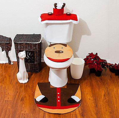 3PC CHRISTMAS FESTIVE REINDEER TOILET SEAT COVER BATHROOM SET XMAS DECORATION