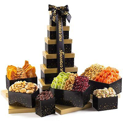 Holiday Dried Fruit & Nut Gift Basket, Black Tower (12 Mix) - Thanksgiving, Chri