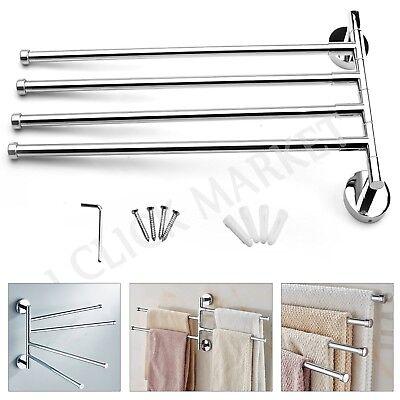 BATHROOM TOWEL HOLDER Towel Rack Shelf Storage Hanger Stainless Steel Swivel Bar