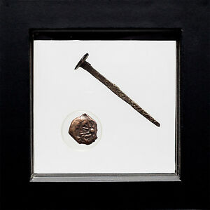 Crucifixion Period Roman Nail and A Poor Widow's Mite from 1st B.C. From Bible