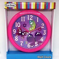 Ashton Sutton Kids Bedroom Pink w/ Purple Butterflies Round 9.75 Wall Clock