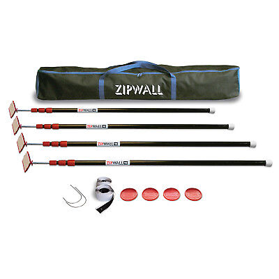 New Zipwall Zp4 4-pole Dust Barrier Kit W Carry Bag