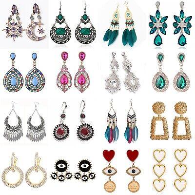 Women Crystal Rhinestone Boho Dangle Drop Ear Stud Fashion Earrings Jewelry Gift
