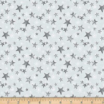 Christmas Fabric - Friendly Gathering Gray Star Toss - Wilmington YARD ()