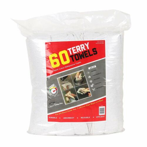 60 Pack of Terry Towels - Grade Rags - (14x17 in) - White Cleaning Towels - Bulk
