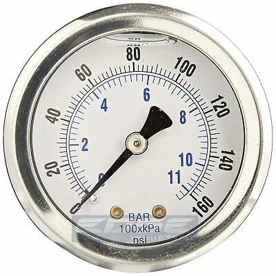 Liquid Filled Pressure Gauge 0-160 Psi 1.5 Face 18 Npt Back Mount