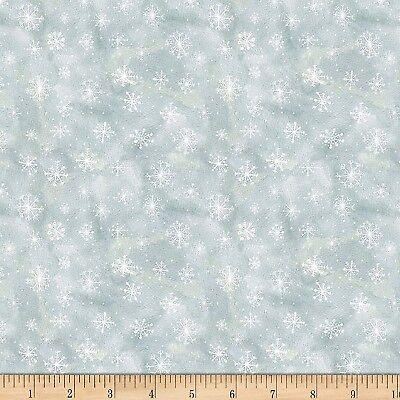 Christmas Fabric - Friendly Gathering White Snowflakes on Gray - Wilmington YARD ()