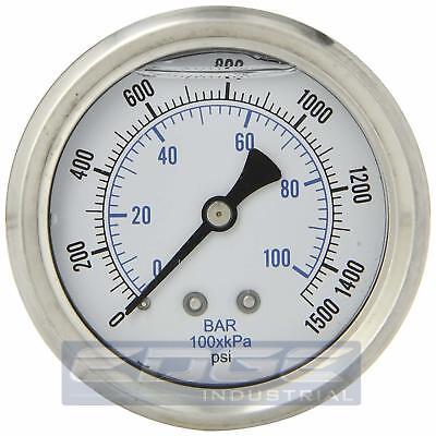 Liquid Filled Pressure Gauge 0-1500 Psi 2.5 Face 14 Back Mount Wog