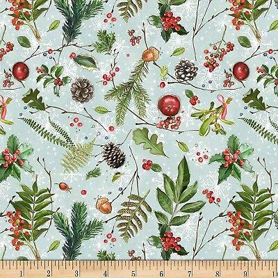 Christmas Fabric - Friendly Gathering Leaves Berries Blue - Wilmington YARD ()
