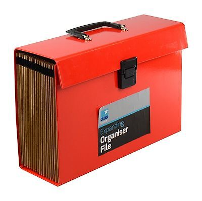 Red 19 Pocket Expanding Box File Organiser A4  Documents Paper Foolscap Folder
