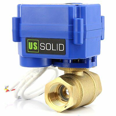 "U.S.Solid Motorized Ball Valve 3/4"" Brass Electrical Ball Valve 3 Wire Setup"