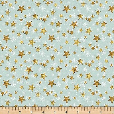Christmas Fabric - Friendly Gathering Yellow Stars on Teal - Wilmington YARD ()