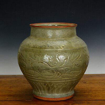 Antique Chinese Ming Celadon Longquan Glaze Phoenix Floral Body Porcelain Vase