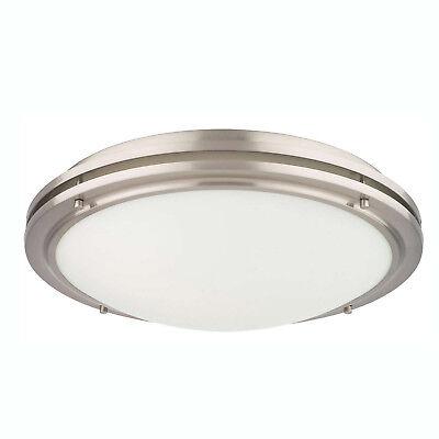 Philips Forecast West End 2 Light Glass Ceiling Flushmount, Satin Nickel Finish