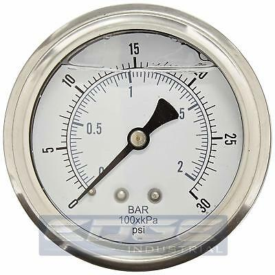Liquid Filled Pressure Gauge 0-30 Psi 2.5 Face 14 Back Mount Wog