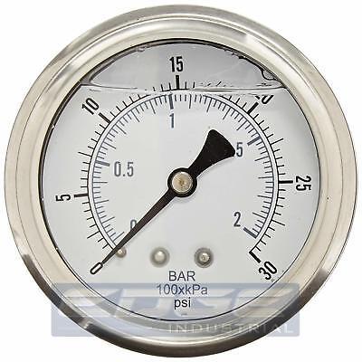 Liquid Filled Pressure Gauge 0-30 Psi 2.5 Face 14 Back Mount Wog