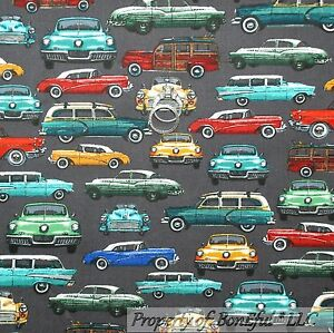 BonEful Fabric FQ Cotton Quilt Gray Red B&W CAR VTG Retro Classic Antique Wood*y