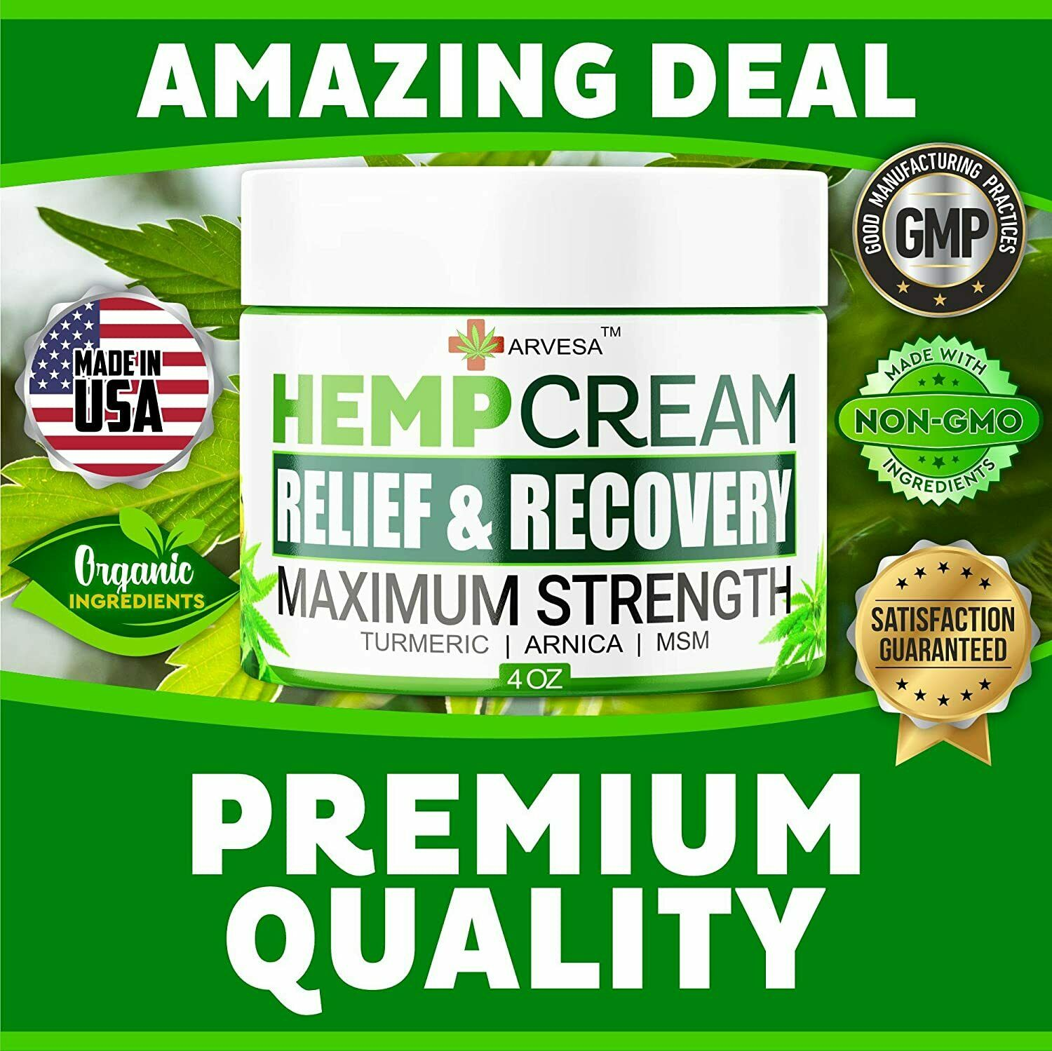 Instant Hemp Pain Relief Cream 8M Muscle Joint Foot Back Turmeric Arnica 4oz USA 4