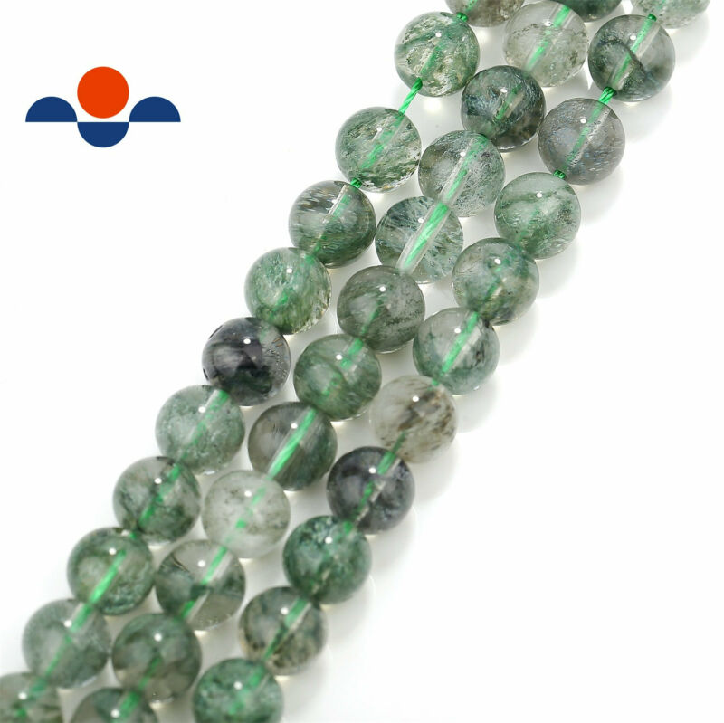 "Green Rutilated Quartz Smooth Round Beads 4mm 6mm 8mm 10mm 12mm 15.5"" Strand"