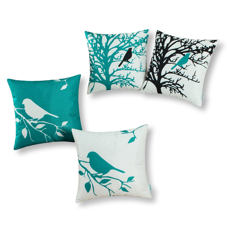 CaliTime Cushion Cover Pillow Shell Shadow Bird Tree Branche