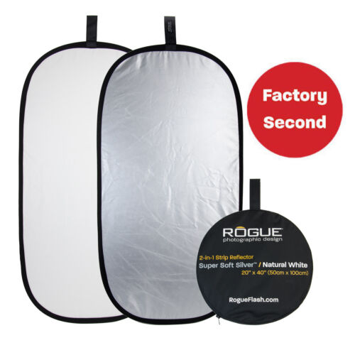"""FACTORY SECOND: Rogue 20""""x40"""" 2-in-1 Super Soft Silver/Natural White Reflector"""