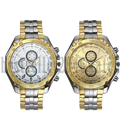 Fashion Three-Eye Dial Stainless Steel Quartz Analog Wrist Watches Mens -