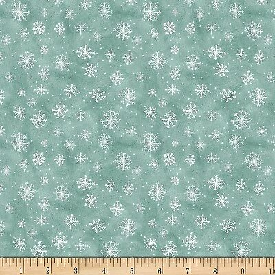 Christmas Fabric - Friendly Gathering White Snowflakes on Teal - Wilmington YARD ()