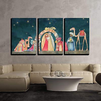 Wall26 - Christmas Nativity Scene Three Wise Men - Canvas Art Wall Decor-16