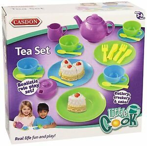 32 Pieces Casdon Tea Set Role Pretend Play Kids Childrens Toy Playset Fun Gift