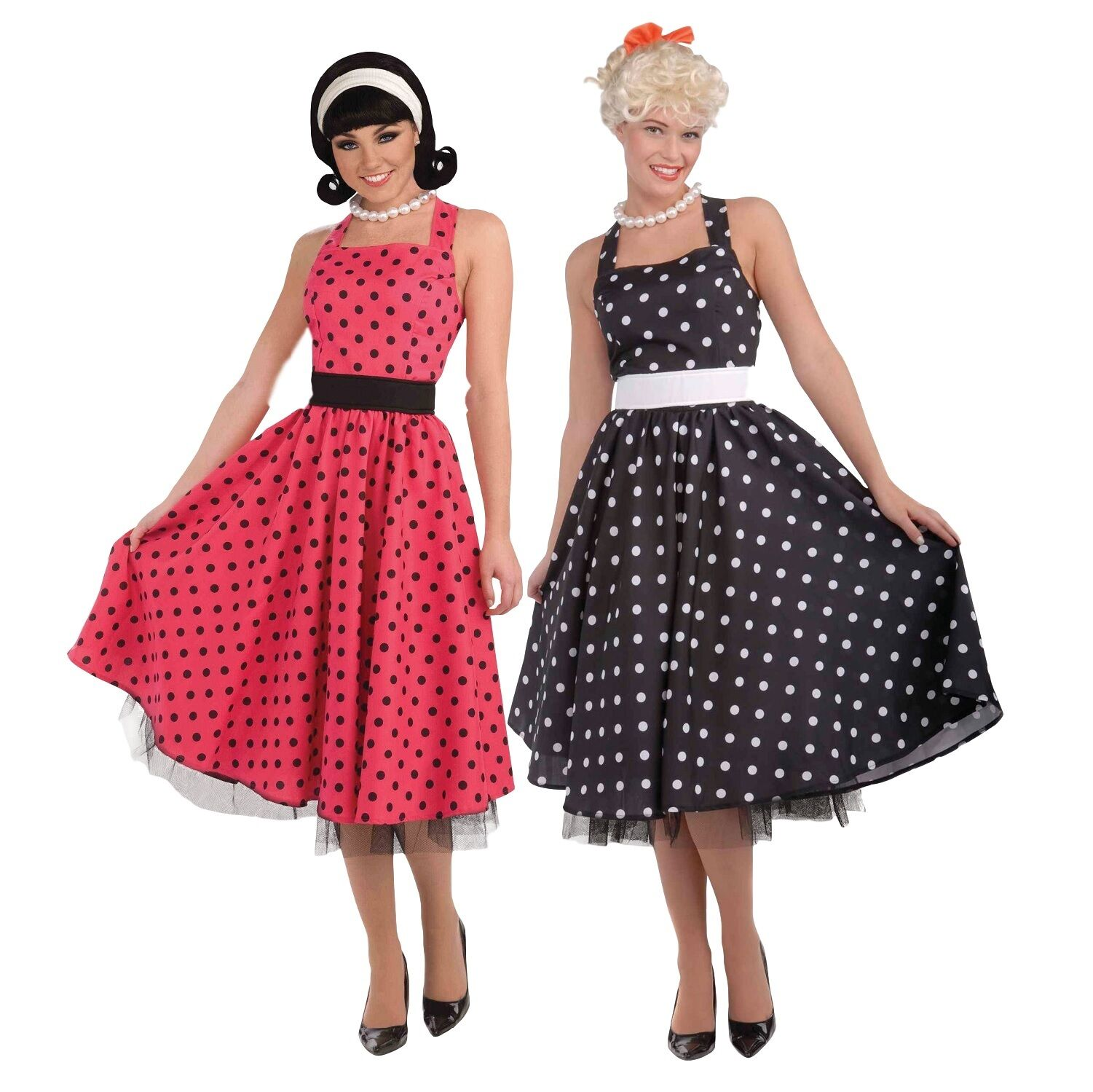 Ladies 1950s 50s Day Dress Polka Dot Red Black Hen Do