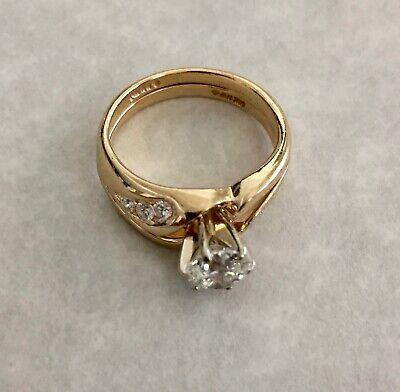 WEDDING SET 14K YELLOW GOLD BRILLIANT .96 CARAT WOMENS DIAMOND RING SEMI-MOUNTED Set Brilliant Diamond