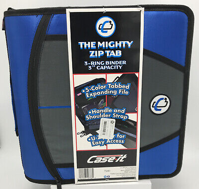 Case-it Mighty Zip Tab 3 Ring 3-inch Zipper Binder Blue Small Defect See Photos
