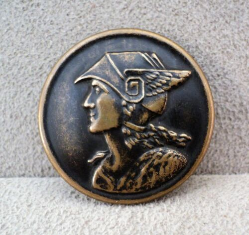 """WINGED MERCURY PICTURE Sewing BUTTON Copper Over Brass 1.25"""" - Vtg Estate Find"""
