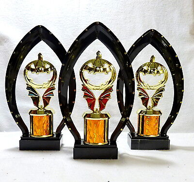 SET OF 3 HALLOWEEN TROPHies PUMPKIN BLACK ARCH FREE LETTERING ##