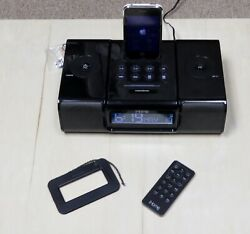 iHome iP9 Black Apple iPhone/iPod 4th Gen-Speaker Dock Alarm Clock Radio+Remote
