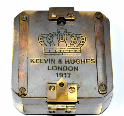 SOLID BRASS KELVIN & HUGHES 1917 BRUNTON COMPASS ANTIQUE COMPASS VINTAGE GIFT