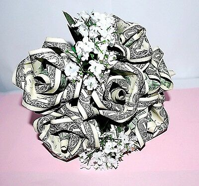 money origami rose bouquet US dollar flowers graduation valentine birthday gift