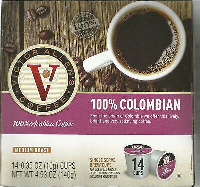 Victor Allens 100% COLOMBIAN Coffee 14 Single-Serve Brew Pod Cups Keurig