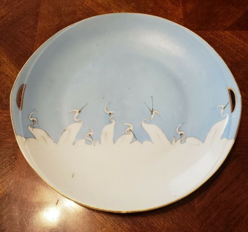 SIGNED NIPPON 5 CRANES  SERVING PLATE BLUE