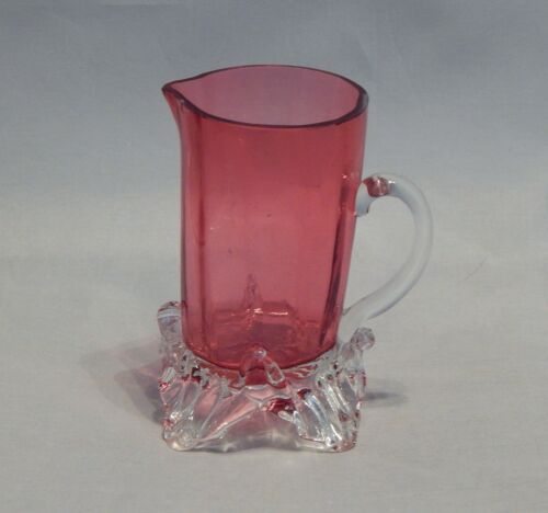 Antique Cranberry Glass Small Pitcher with Applied Handle and Feet